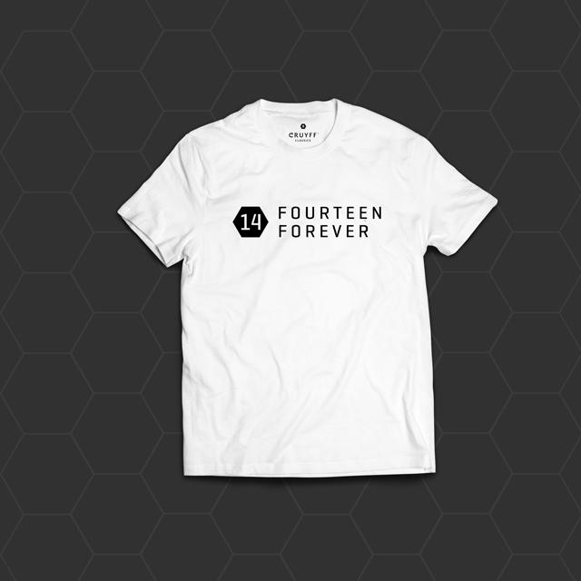 14 FOREVER, WHITE T-shirt FRONT